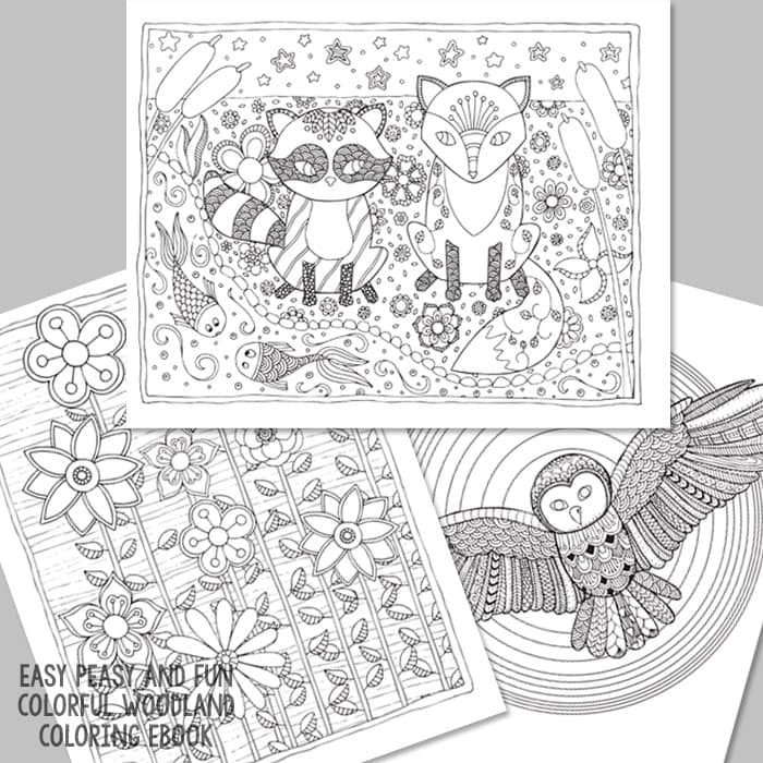 Forest Friends, Flowers and Owl Coloring Pages for Grown Ups