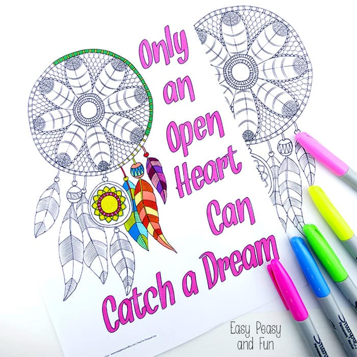 Dream Catcher Coloring Page for Grown Ups