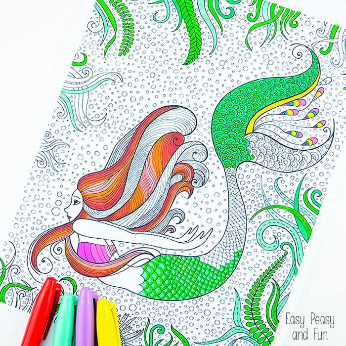 graphic relating to Printable Mermaid Pictures referred to as Mermaid Coloring Site for Grown ups - Very simple Peasy and Enjoyable