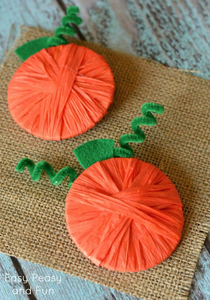 Raffia Wrapped Pumpkins - Pumpkin Crafts for Kids