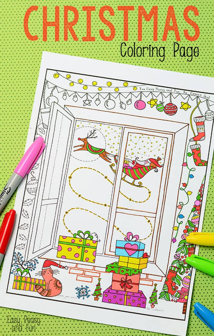 christmas coloring page for adults and kids