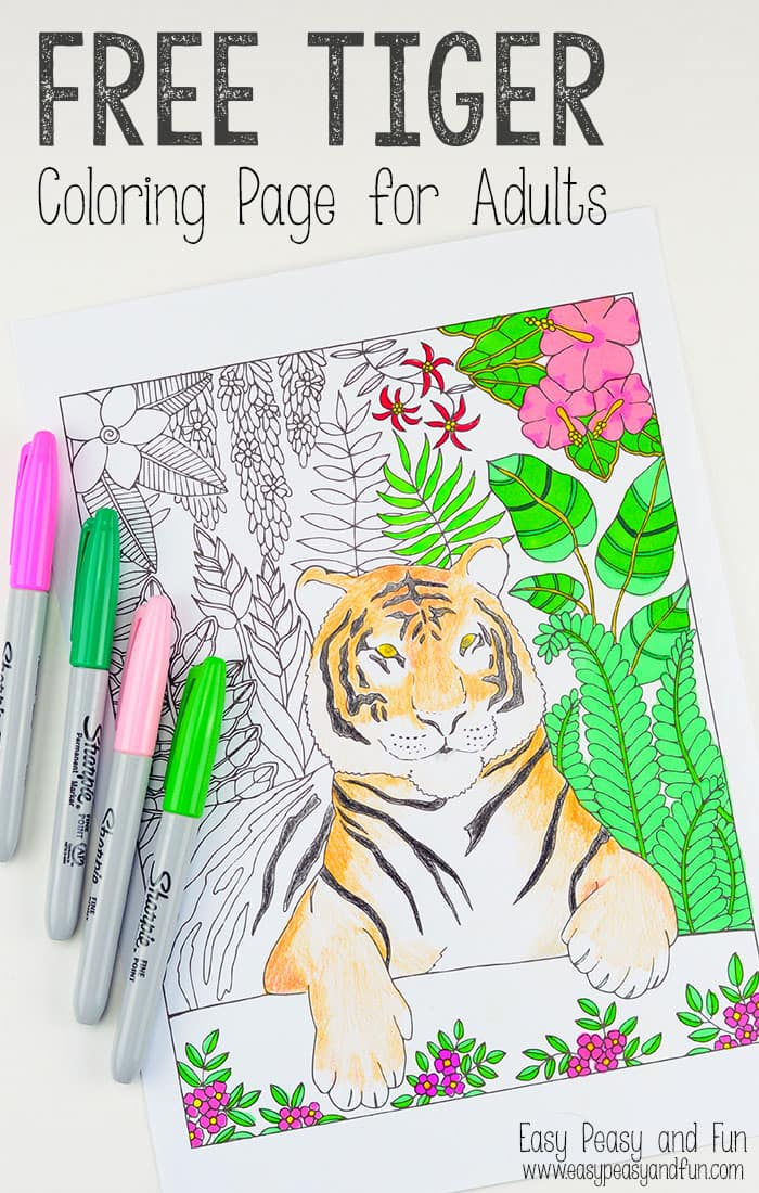 Tiger coloring page for grown ups easy peasy and fun Coloring books for young adults