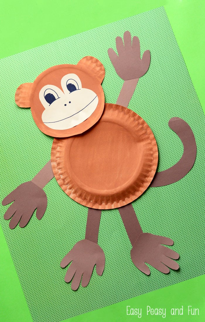 Paper Plate Monkey Craft. A fun paper plate craft for kids of all ages - this makes a wonderful group craft!