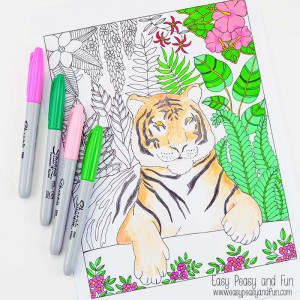 Color Away with This Tiger Coloring Page for Grown Ups