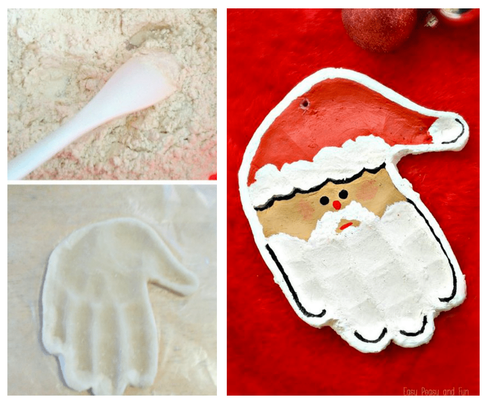 Salt dough handprint Santa ornament
