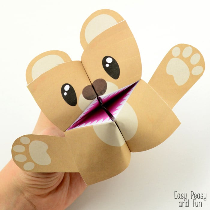 Teddy Bear Cootie Catcher by Easy Peasy Fun Girl Andreja Vucajnk