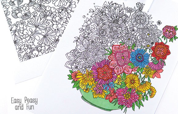 Flower Coloring Pages For Adults - Easy Peasy And Fun