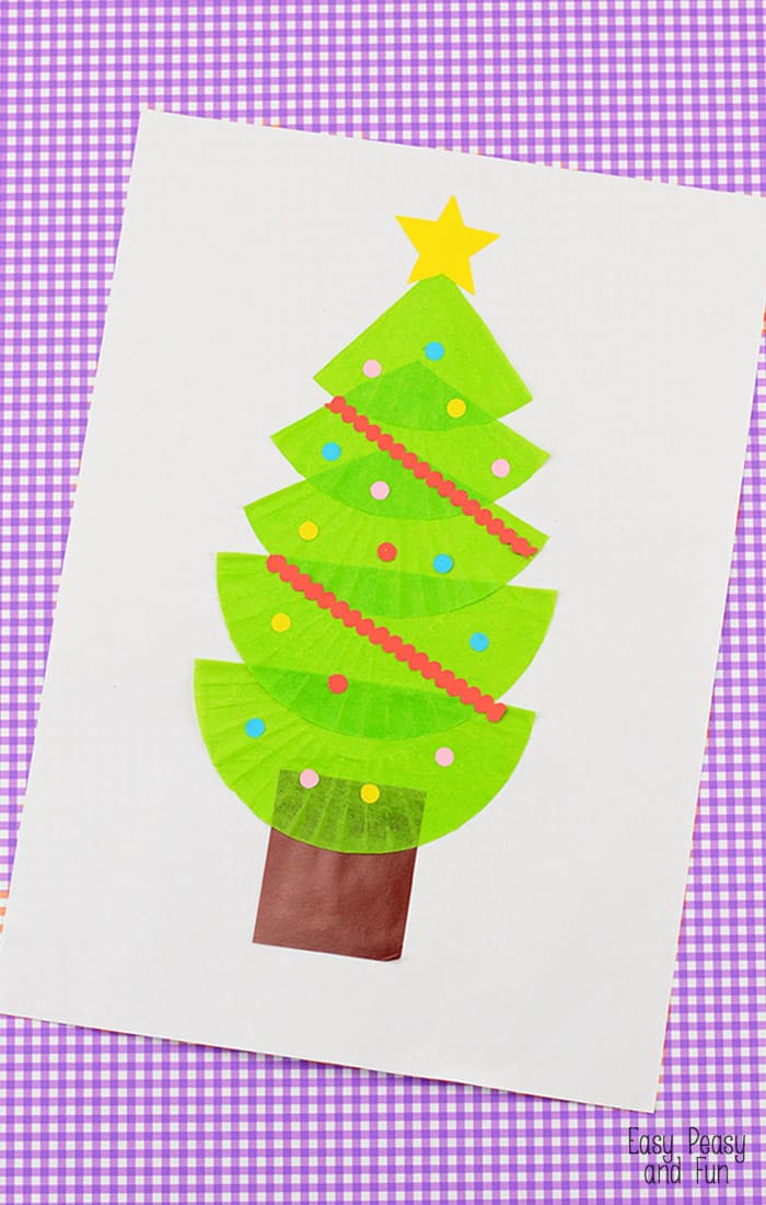 Christmas Tree Cupcake Liner Craft Easy Peasy And Fun