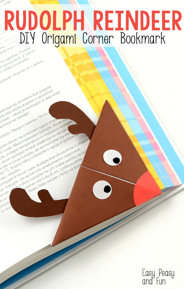 reindeer origami corner bookmark easy peasy and fun