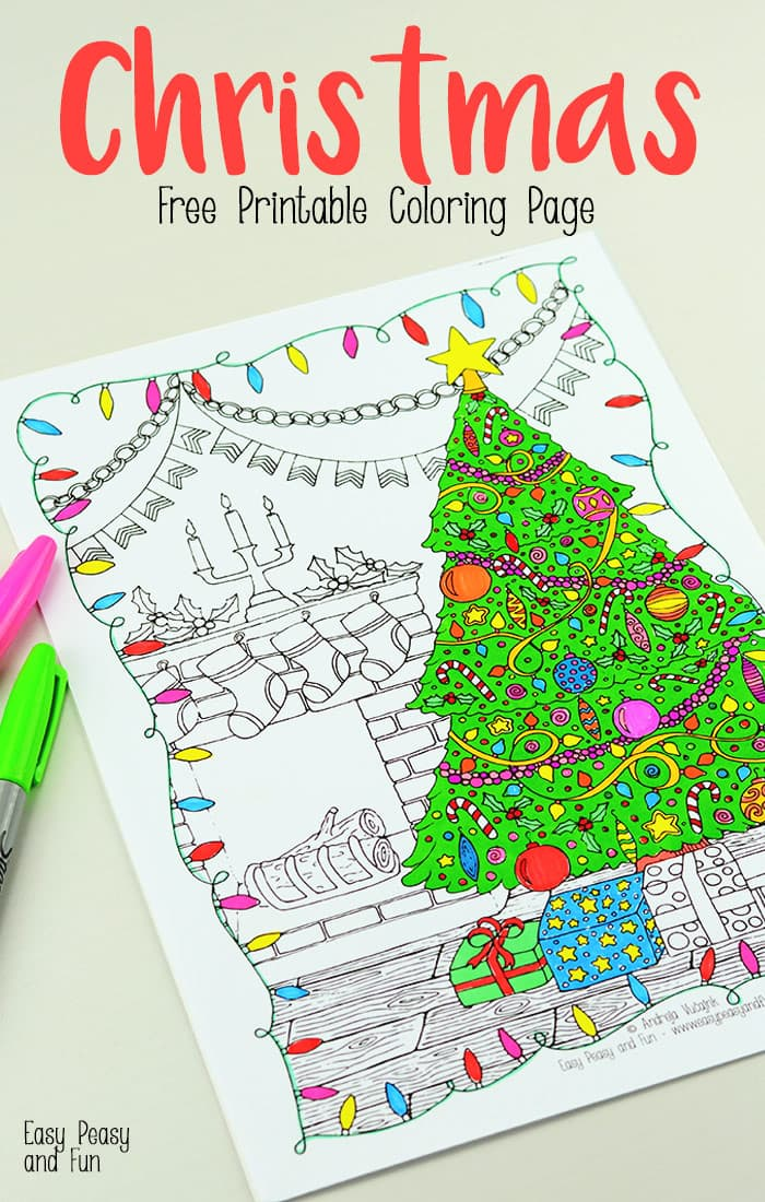 photo relating to Free Printable Adult Christmas Coloring Pages called Cost-free Printable Xmas Coloring Website page - Very simple Peasy and Entertaining