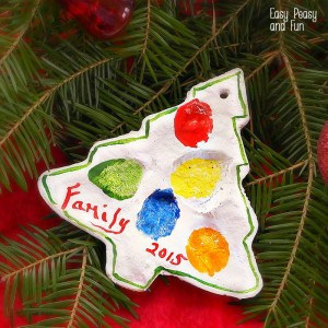 Fingerprint Christmas Tree Salt Dough Ornament