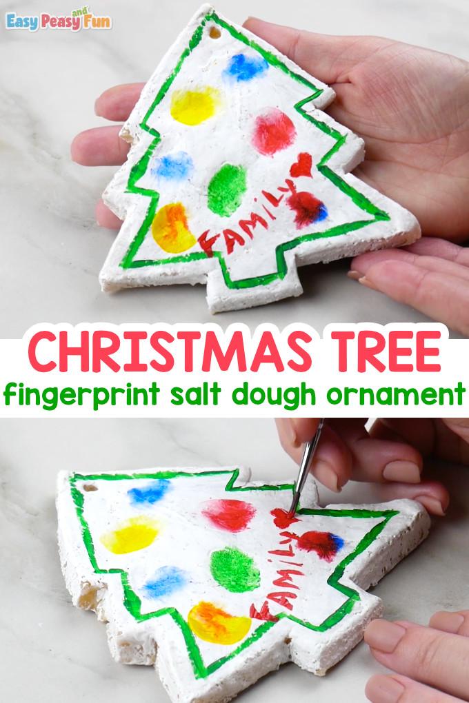 Fingerprint Christmas Tree Salt Dough Ornament Craft