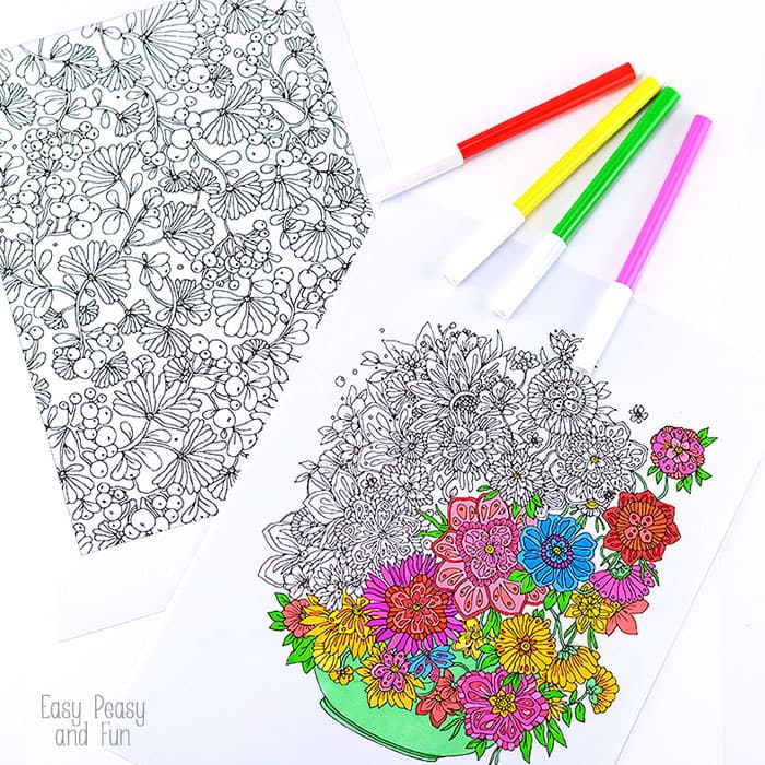 Free Colouring Pages Flowers Printable : Flower coloring pages for adults easy peasy and fun