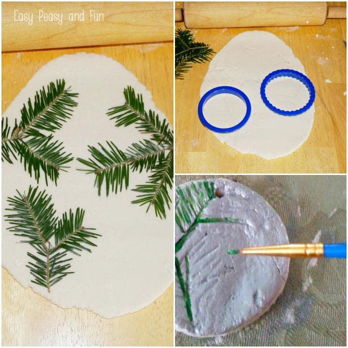 pine stamped salt dough ornaments