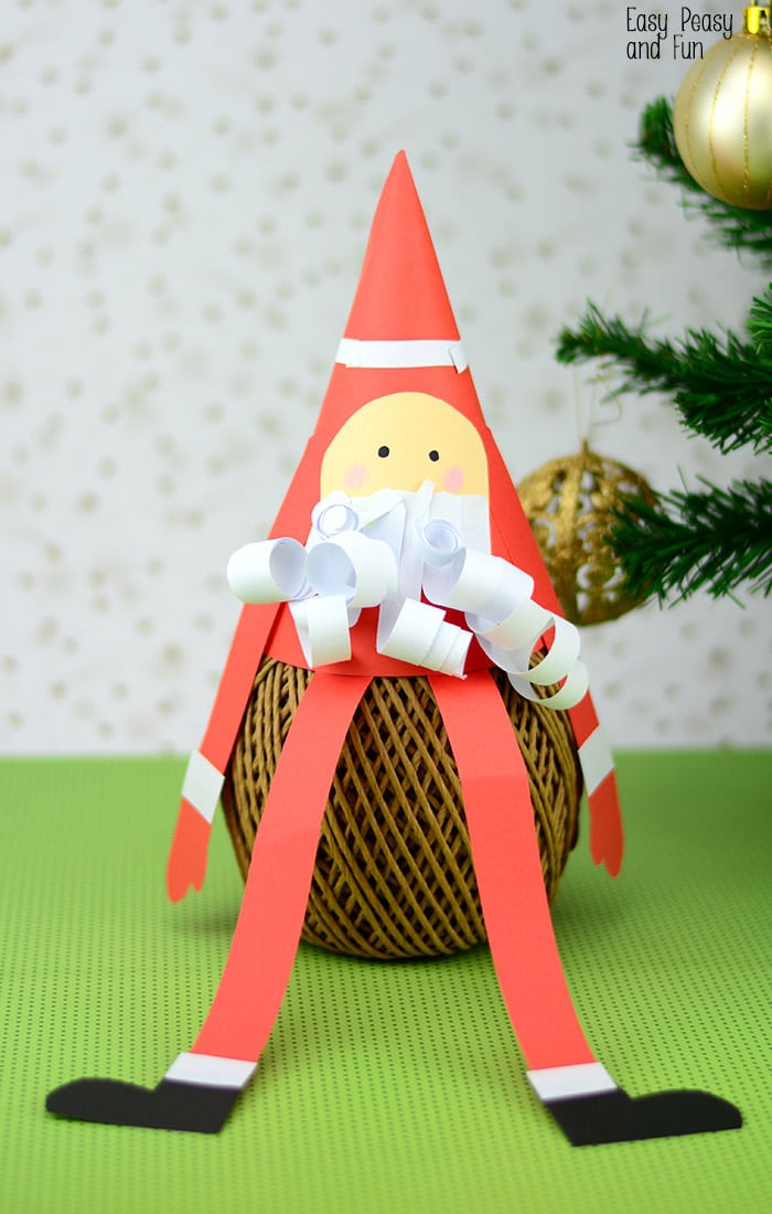 Paper Cone Santa Craft - Christmas Crafts for Kids - Easy ...