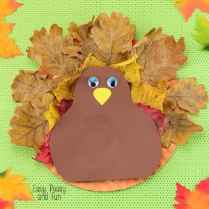 Paper Plate Turkey Craft with Leaves