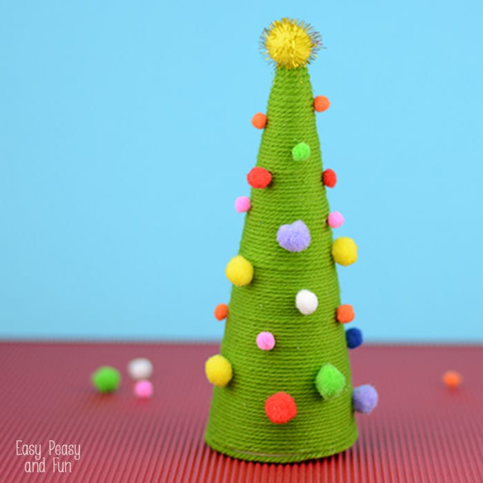 Pom Pom Cone Christmas Tree Craft for Kids