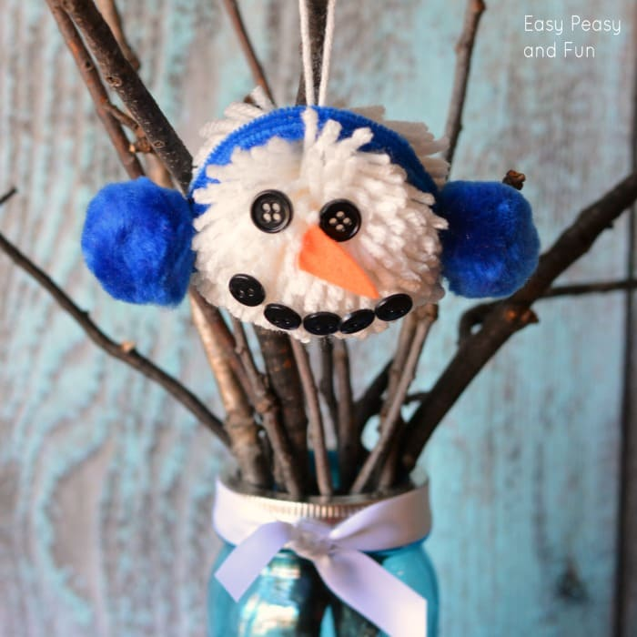 The Pom Pom Ornament Craft That Never Ends: Pom Pom Snowman Ornament