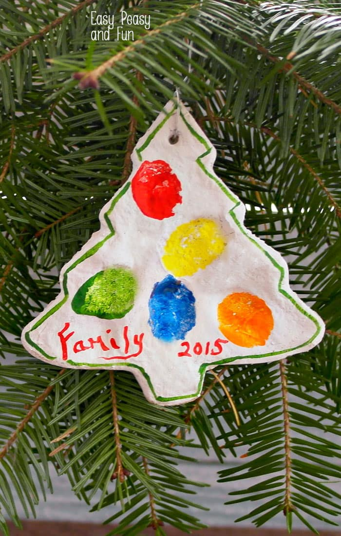 Salt Dough Fingerprint Christmas Tree Ornament - Christmas Ornaments for Kids to Make