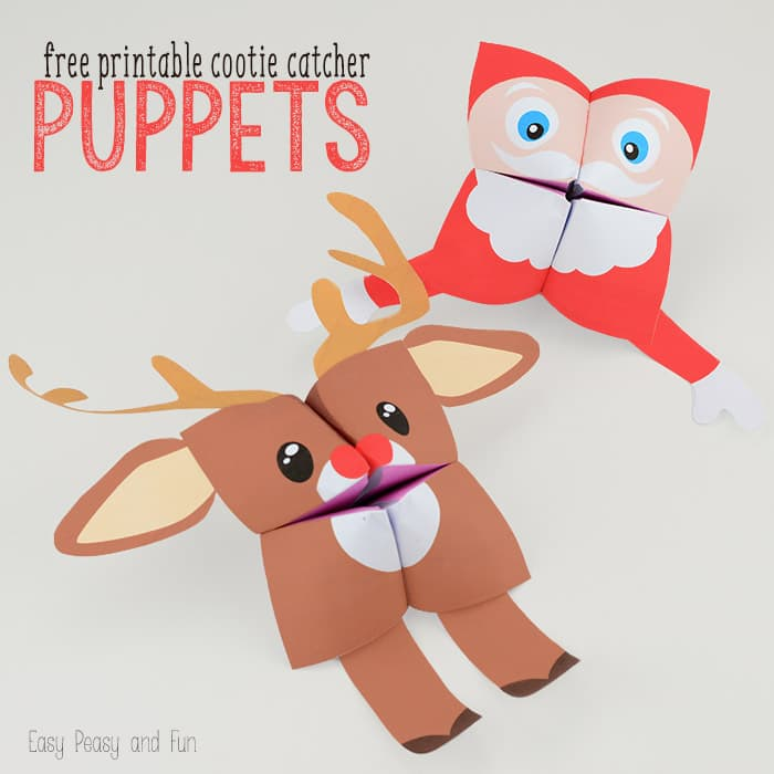 Christmas Cootie Catchers Free Printable Paper Puppets