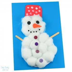 Cotton Ball Snowman Craft for Kids