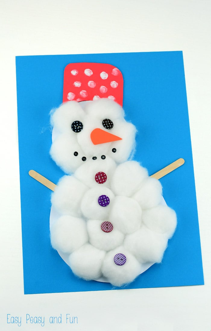 cotton ball snowman cotton snowman craft easy peasy and 1362