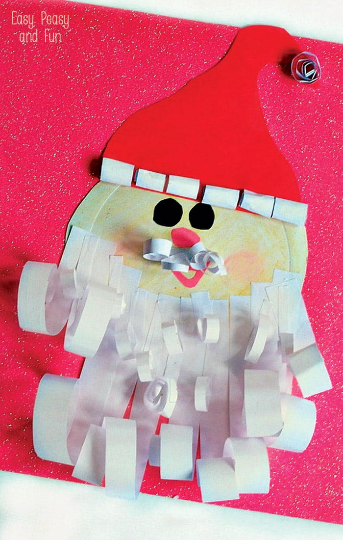 Curled Paper Santa Paper Plate Craft & Paper Plate Santa Craft - Easy Peasy and Fun