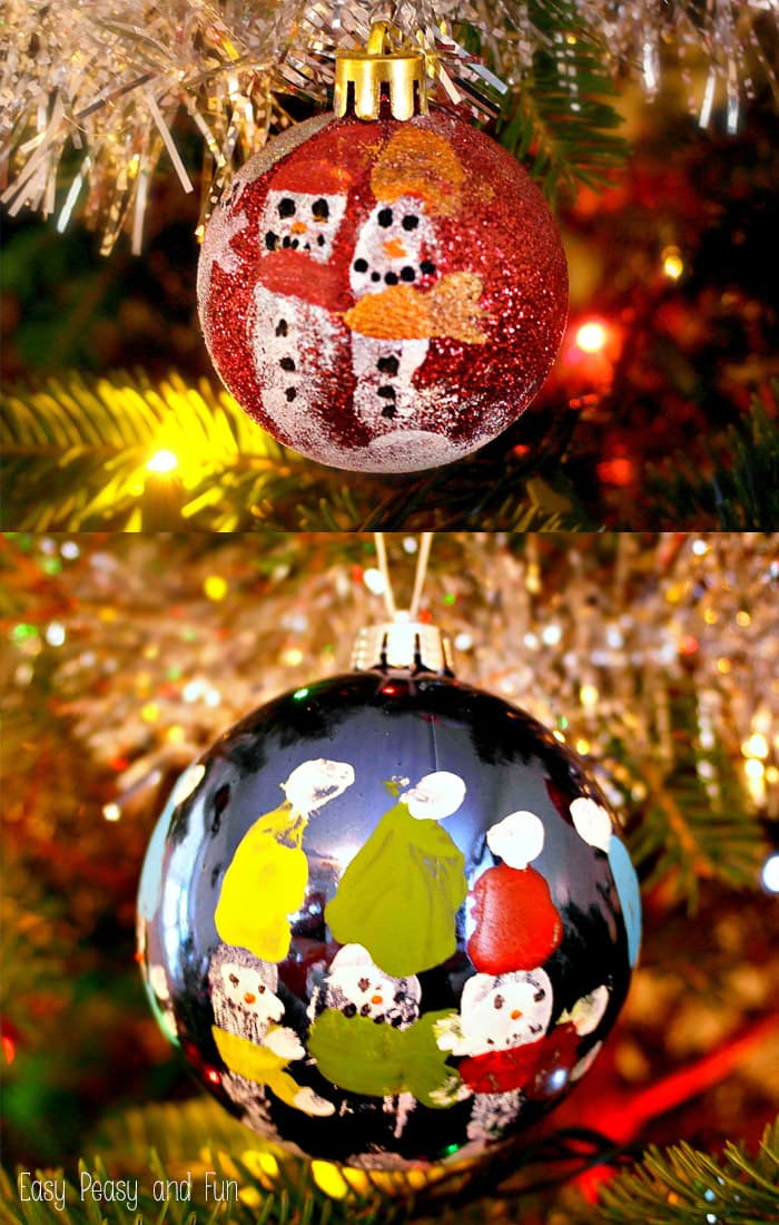 Fingerprint Snowmen Ornaments - Kid Made Christmas Ornaments