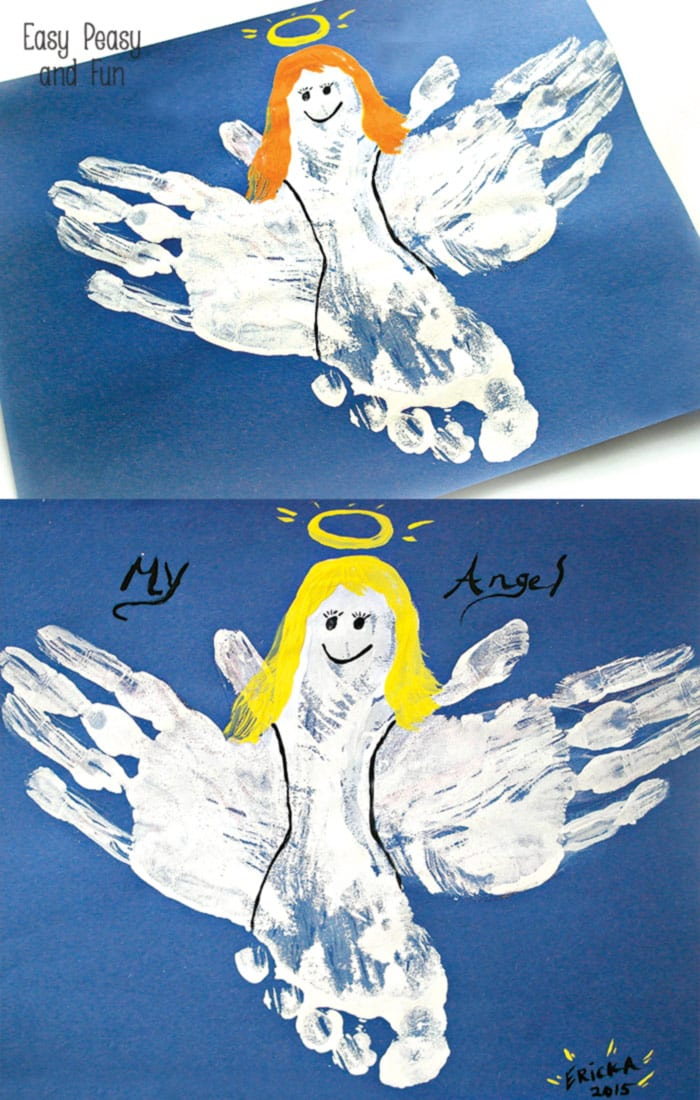 handprint and footprint angel craft   easy peasy and fun