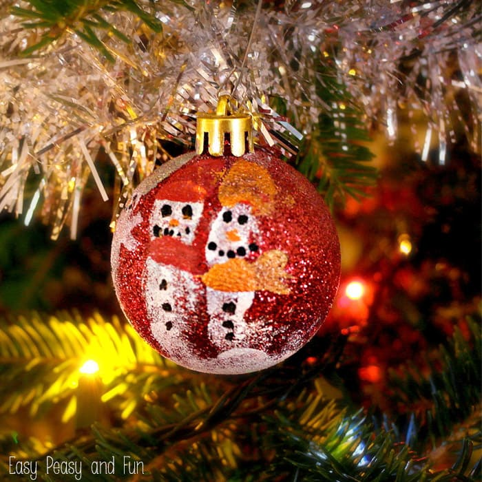 Kid Made Ornaments Fingerprint Snowmen Ornaments