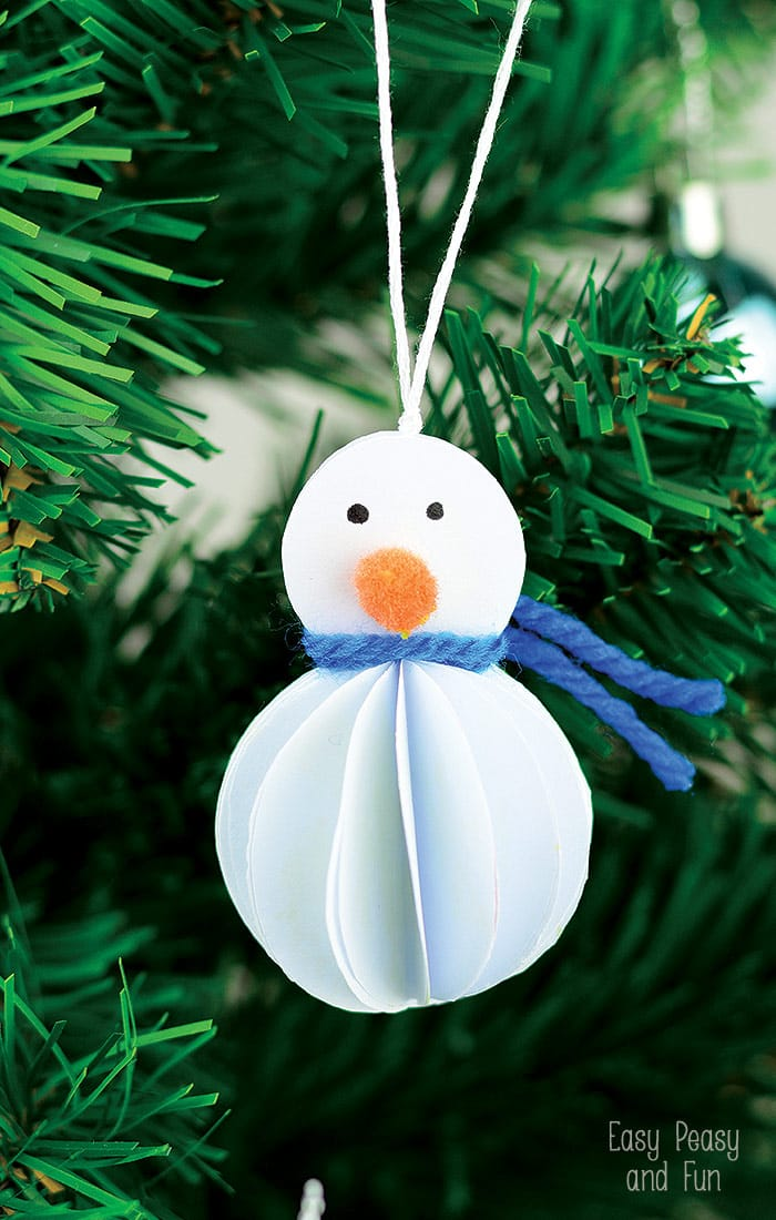 Simple Paper Snowman Ornament