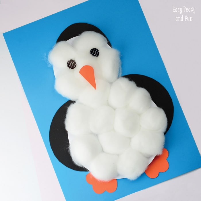Penguin Craft made out of cotton balls