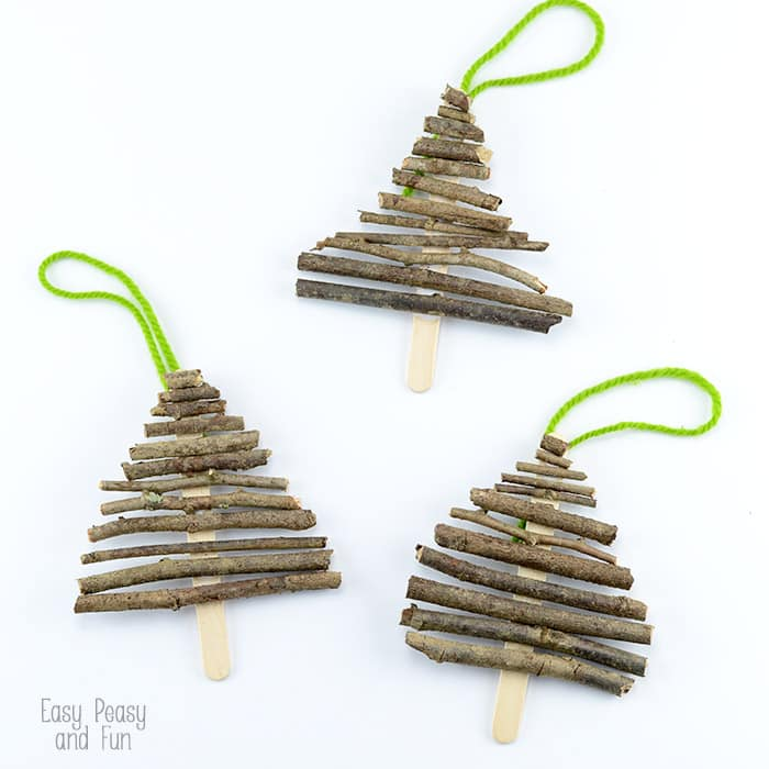 Popsicle Sticks and Twigs Christmas tree craft