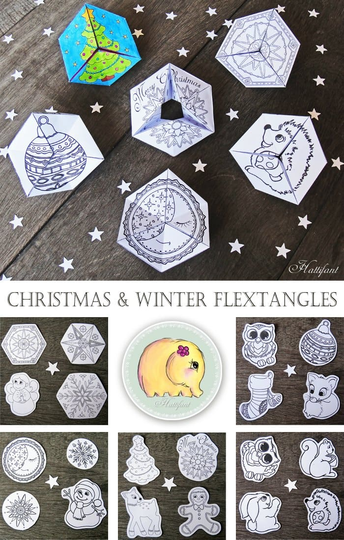 Winter and Christmas Flextangle Paper Toys