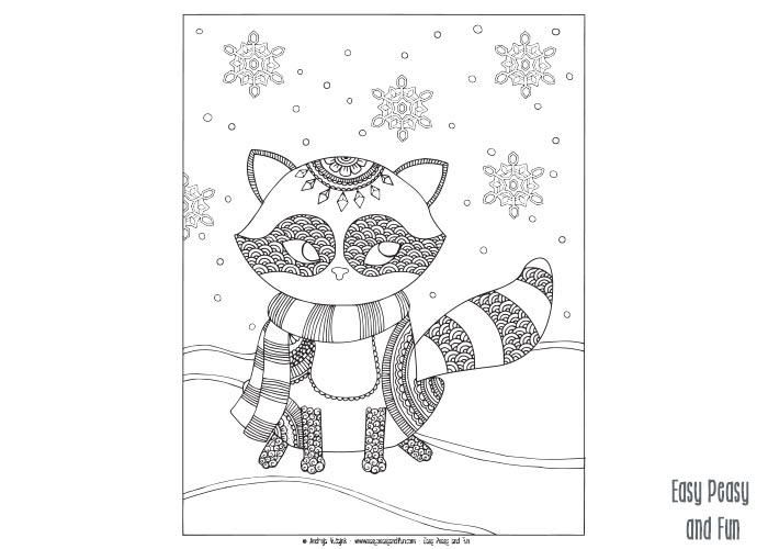 winter themed coloring pages - raccoon winter coloring page for adults and kids easy