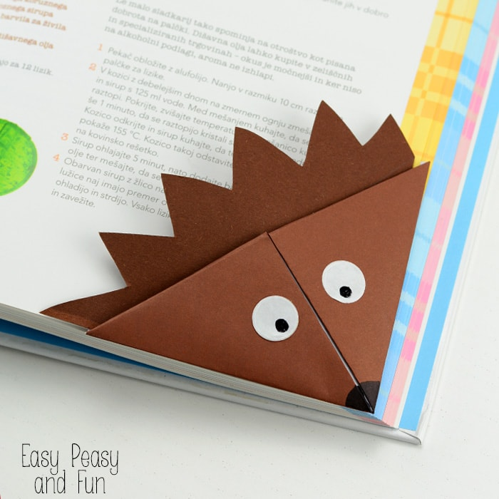 Corner Bookmark - Hedgehog, simple origami for kids to make