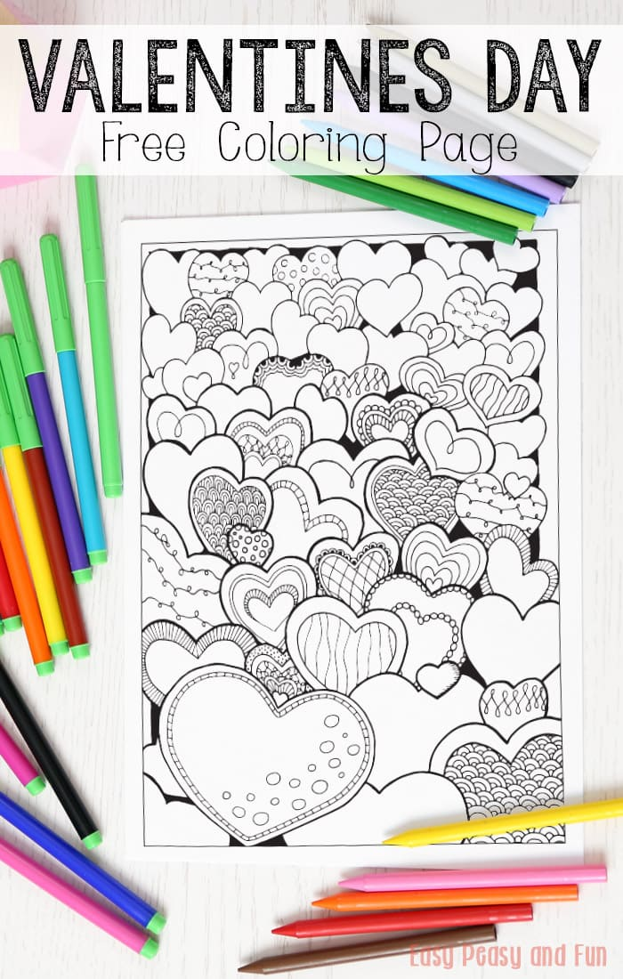 Hearts Valentines Day Coloring Page for Adults Easy