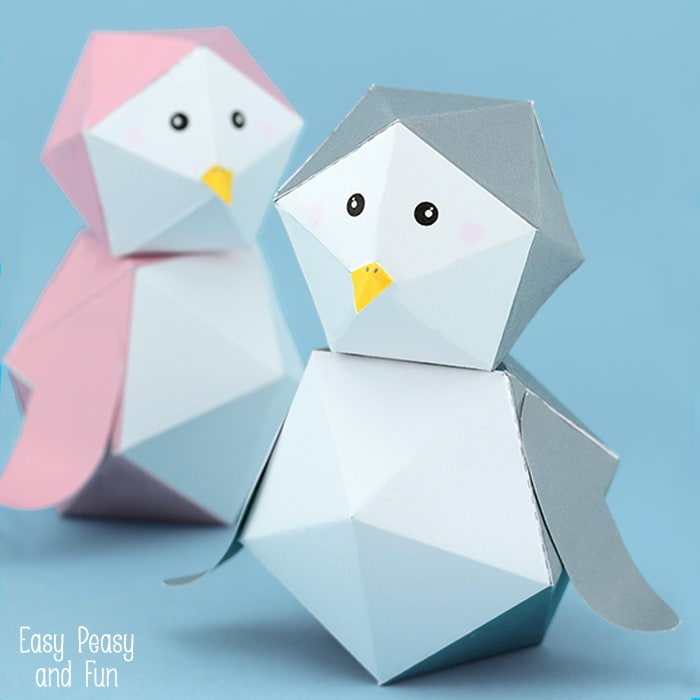 3D Penguin Paper Toy Free Printable