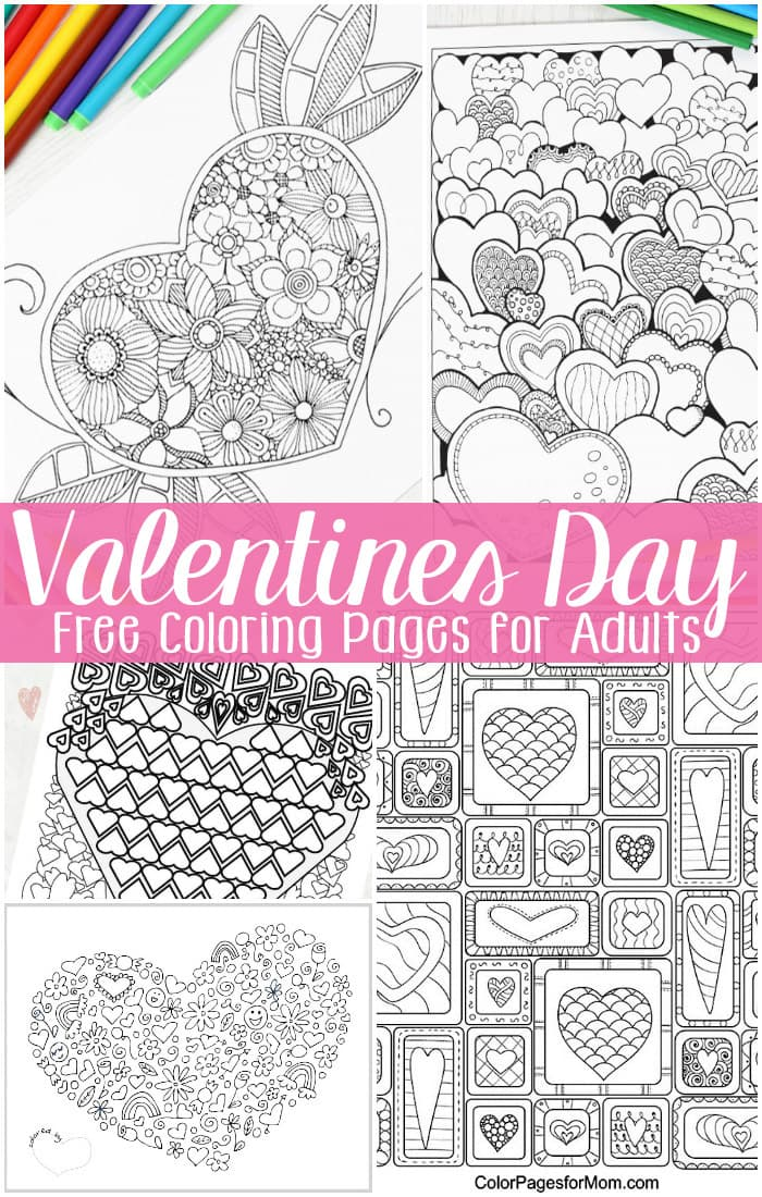 photograph relating to Valentines Printable Color Pages identified as No cost Valentines Working day Coloring Webpages for Grownups - Straightforward Peasy