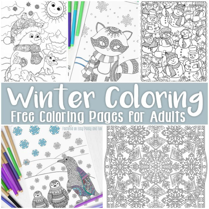 graphic relating to Free Printable Winter Coloring Pages referred to as Free of charge Printable Winter season Coloring Internet pages for Older people - Uncomplicated Peasy