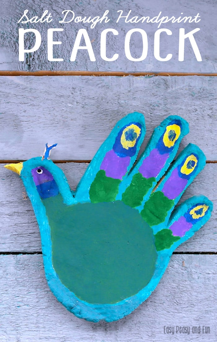 Handprint Peacock Salt Dough Craft for Kids - Peacock Crafts