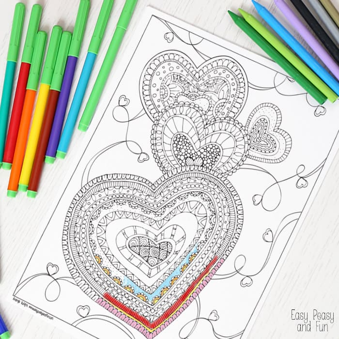 zen hearts intricate coloring page zen hearts intricate coloring page easy peasy and 7366