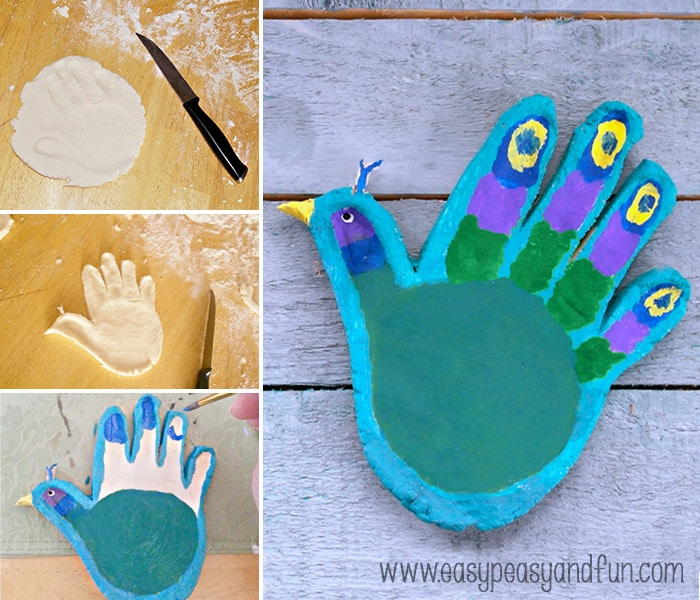 How to Make a Handprint Peacock Salt Dough Craft