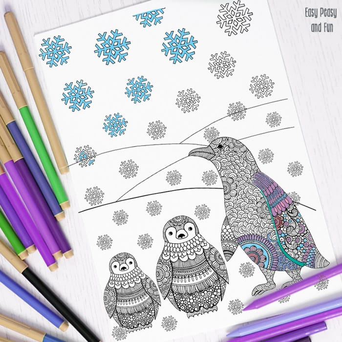 Intricate Penguins Coloring Page Perfect For Winter