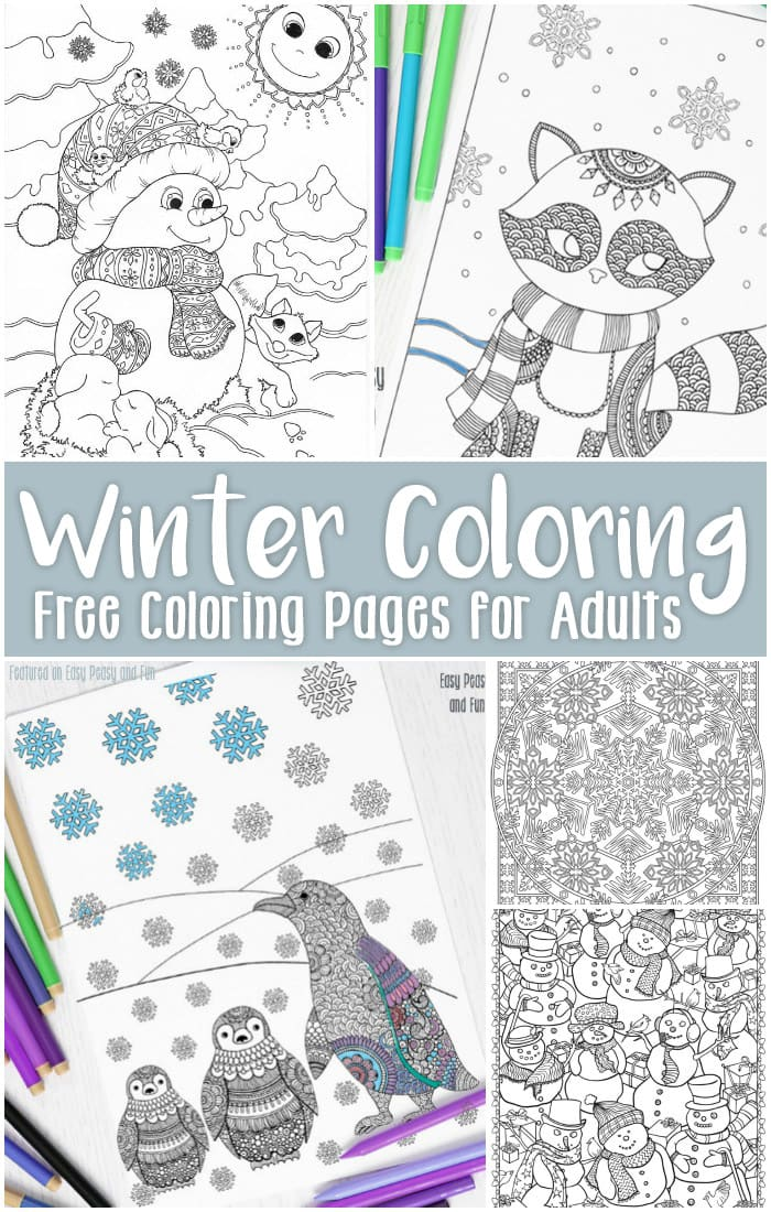 image relating to Free Printable Winter Coloring Pages identified as Free of charge Printable Winter season Coloring Internet pages for Grown ups - Uncomplicated Peasy