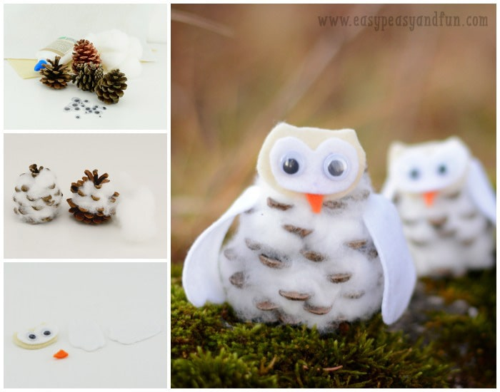 Making The Pinecone Winter Owl Craft