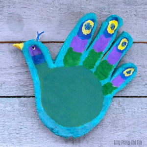Handprint Peacock Salt Dough Craft for Kids