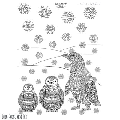 Penguins Winter Coloring Page for Adults - Easy Peasy and Fun