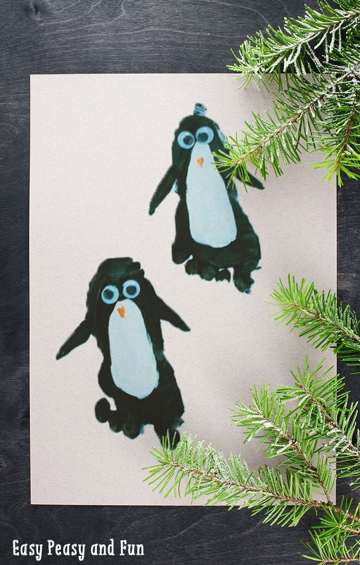 funny craft ideas penguin footprint craft easy peasy and 2070