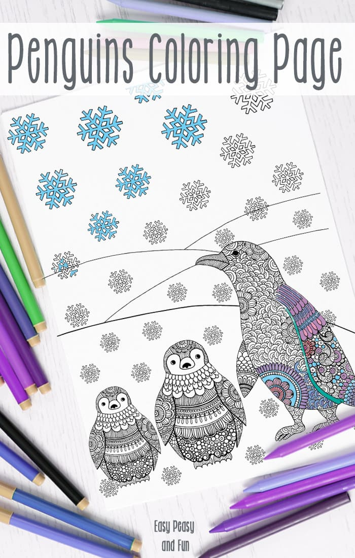 Intricate Penguins Winter Coloring Page for Adults and Kids to Color